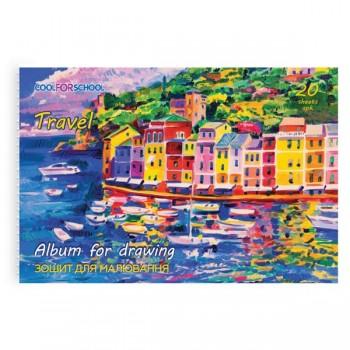 Альбом для рисования Домики у моря на скобе 20 л CF60902-06