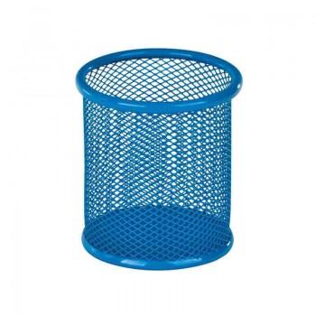 Стакан для ручек металлический, голубой