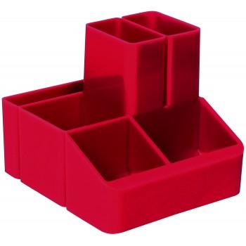 Подставка для ручек, 6 отделений красная