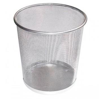 Корзина для бумаг круглая ,серебряная Leader