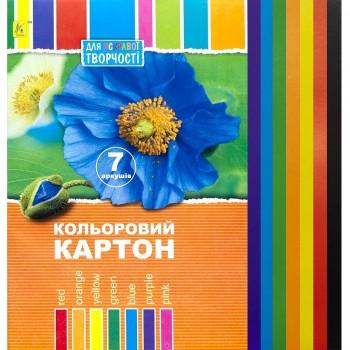 Цветной картон Коленкор А4, 7 цветов