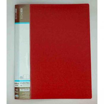 Папка пластикова с 10 файлами Economix, красная