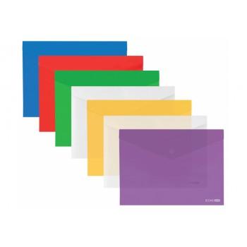 Папка-конверт А3 прозрачная на кнопке, ассорти