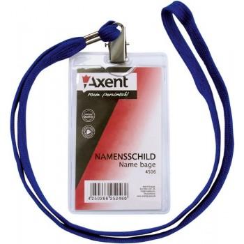 Бейдж вертикальный Axent на шнурке 9*6 см 4506-A