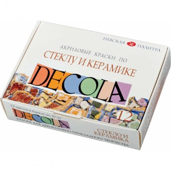 Набор акриловых красок по стеклу и керамике 12 цв. 20 мл. Decola