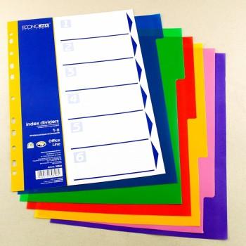 Разделитель страниц цветной, 12 разделов, пластик