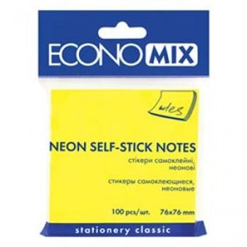 Стикеры Economix 75*75, 100 л, ярко-желтые