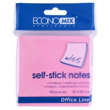 Стикеры Economix 75*75 мм, 100 л, розовый E20944-09