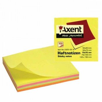 Стикеры Axent 75*75 мм, 100 л, неоновые 2325-02-A