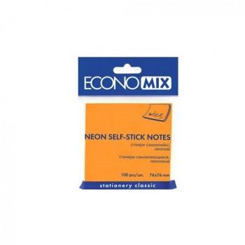 Стикеры Economix 75*75 мм 100 л, оранжевые E20944-06