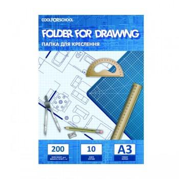 Папка для черчения 200 г/м А3 Cool For School 10 листов CF32011
