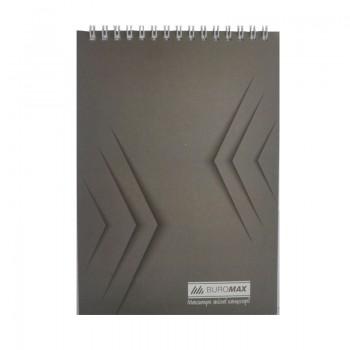 Блокнот на спирали Buromax Monochrome A5, 48 л клетка, серый
