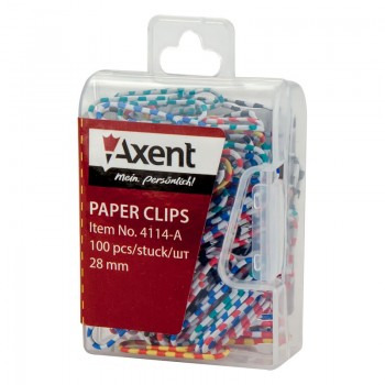 Скрепки цветные Зебра Axent 28 мм 100 шт, пластик. 4114-А